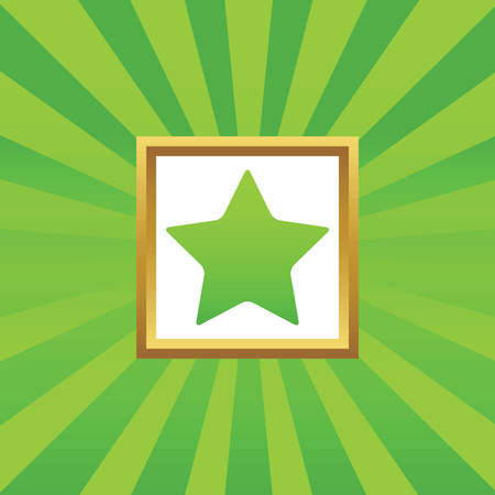 ideogram: Image of star in golden frame, on green abstract background