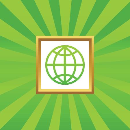 golden globe: Image of globe symbol in golden frame, on green abstract background Illustration