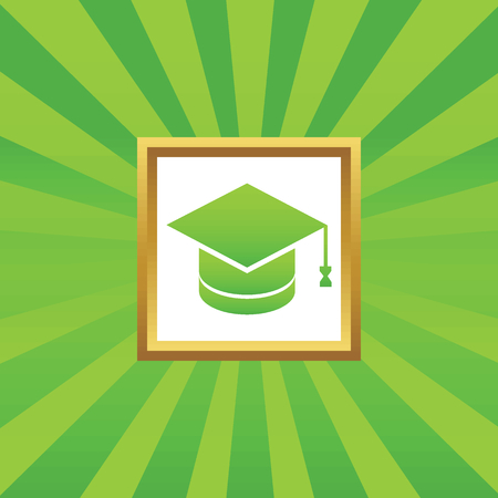 abstract academic: Image of square academic hat in golden frame, on green abstract background