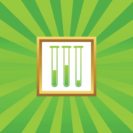 reagents: Image of three test-tubes in golden frame, on green abstract background Illustration