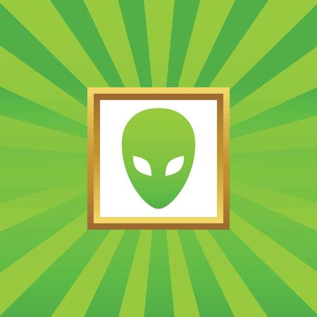 alien face: Image of alien face in golden frame, on green abstract background Illustration
