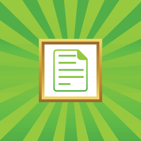 article writing: Image of document page in golden frame, on green abstract background Illustration
