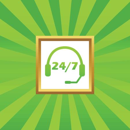 ヘッドセットと緑の抽象的な背景のゴールデン フレームで 7 あたりテキスト 24