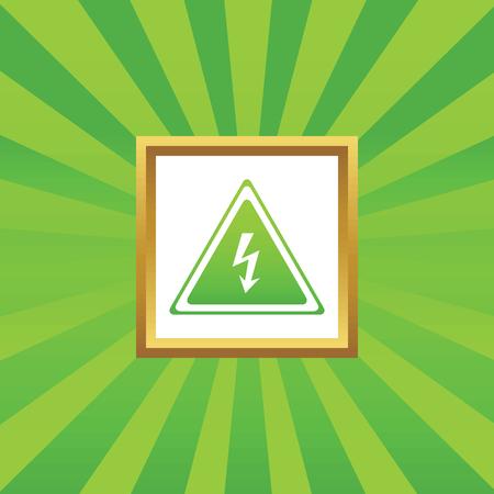 high voltage sign: Image of high voltage sign in golden frame, on green abstract background Illustration