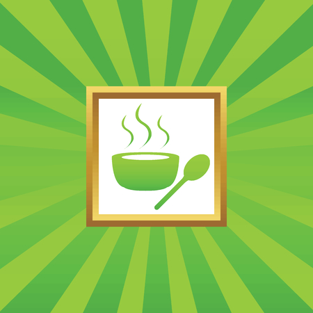 hot frame: Image of bowl with hot soup in golden frame, on green abstract background