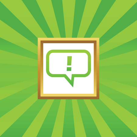 note of exclamation: Image of chat bubble with exclamation mark in golden frame, on green abstract background