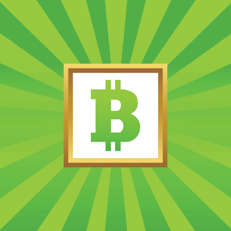 net trade: Image of bitcoin symbol in golden frame, on green abstract background