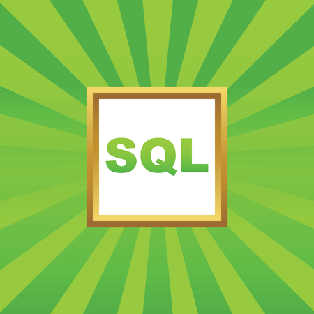 sql: Text SQL in golden frame, on green abstract background
