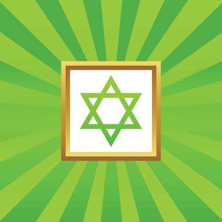 judaica: Image of Star of David symbol in golden frame, on green abstract background