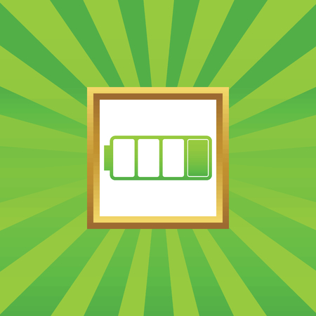 low battery: Image of low battery in golden frame, on green abstract background