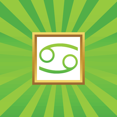 green crab: Image of Cancer zodiac symbol in golden frame, on green abstract background Illustration