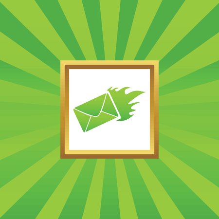 meaningful: Image of burning envelope in golden frame, on green abstract background Illustration