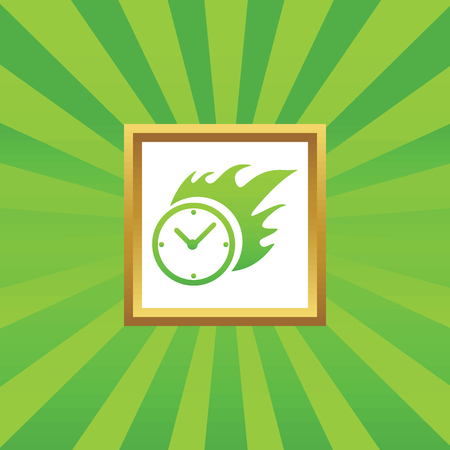 bounds: Image of burning clock in golden frame, on green abstract background