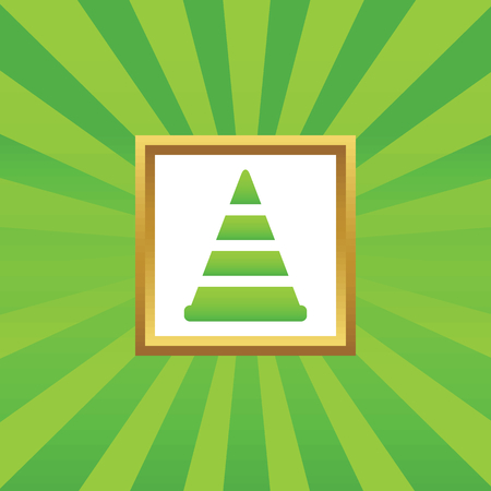 bypass: Image of traffic cone in golden frame, on green abstract background Illustration