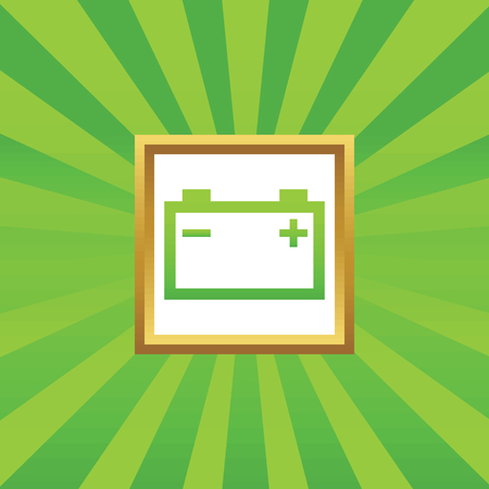 battery acid: Image of accumulator in golden frame, on green abstract background
