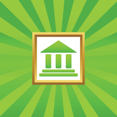 pillars: Image of classical building with pillars in golden frame, on green abstract background Illustration