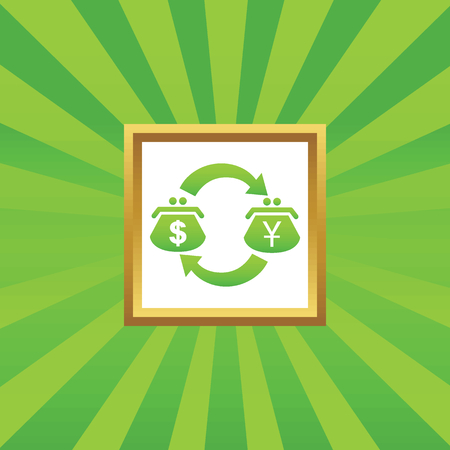 purses: Exchange between dollar and yen purses in golden frame, on green abstract background Illustration