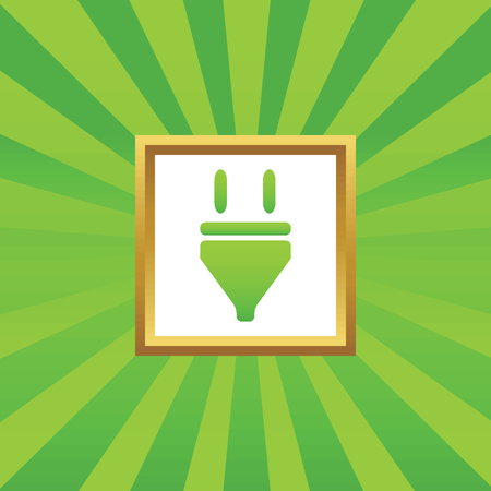 plug in: Image of plug in golden frame, on green abstract background Illustration