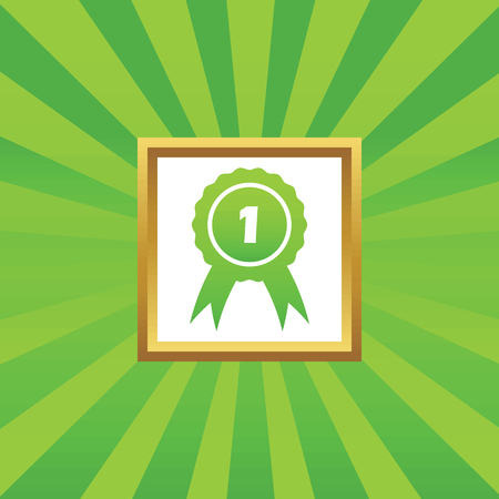 corroboration: Image of first place award in golden frame, on green abstract background Illustration