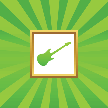 lead guitar: Image of electric guitar in golden frame, on green abstract background