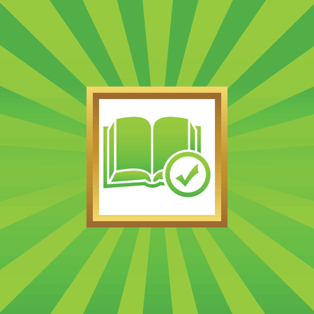 book mark: Image of open book and tick mark in golden frame, on green abstract background Illustration