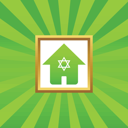 jewish houses: Image of house with Star of David in golden frame, on green abstract background Illustration