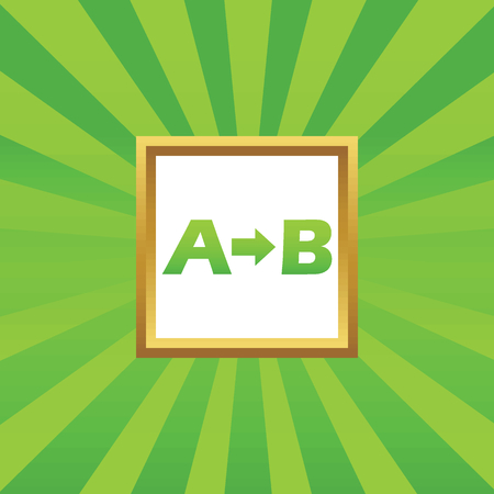 derivation: Letters A, B and arrow in golden frame, on green abstract background Illustration