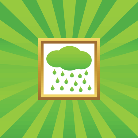 sleet: Image of cloud and water drops in golden frame, on green abstract background Illustration