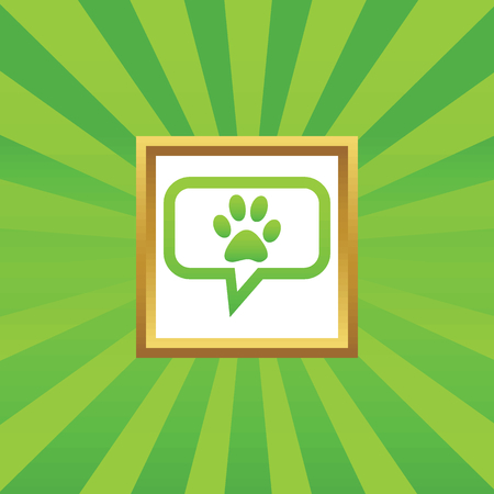 track pad: Paw print in chat bubble, in golden frame, on green abstract background