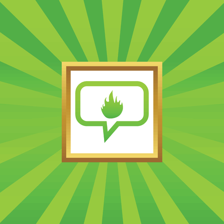 conflagration: Flame image in chat bubble, in golden frame, on green abstract background