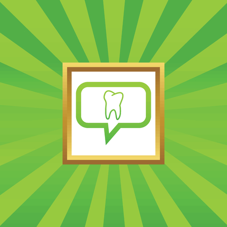 Tooth contour in chat bubble, in golden frame, on green abstract background