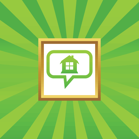 chat window: House with window in chat bubble, in golden frame, on green abstract background Illustration