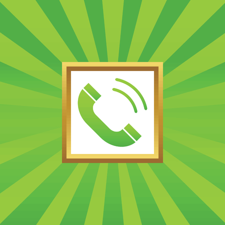ringing: Image of ringing phone receiver in golden frame, on green abstract background