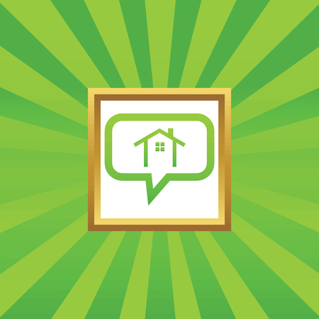 housetop: House contour in chat bubble, in golden frame, on green abstract background Illustration