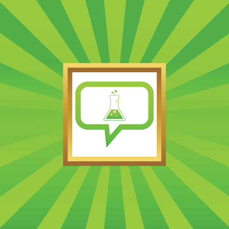reagents: Conical flask in chat bubble, in golden frame, on green abstract background Illustration