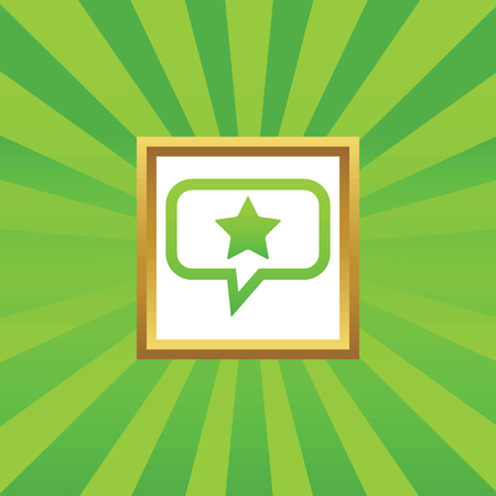 Star in chat bubble, in golden frame, on green abstract background Illustration