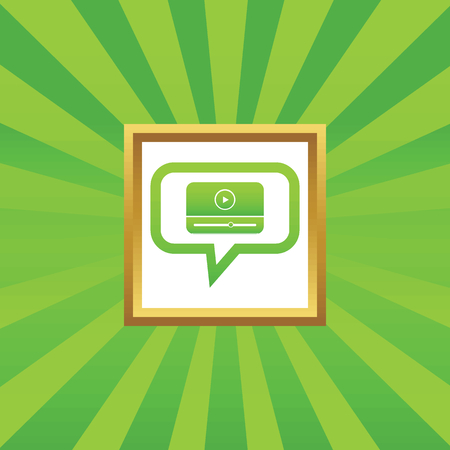chat window: Mediaplayer window in chat bubble, in golden frame, on green abstract background Illustration