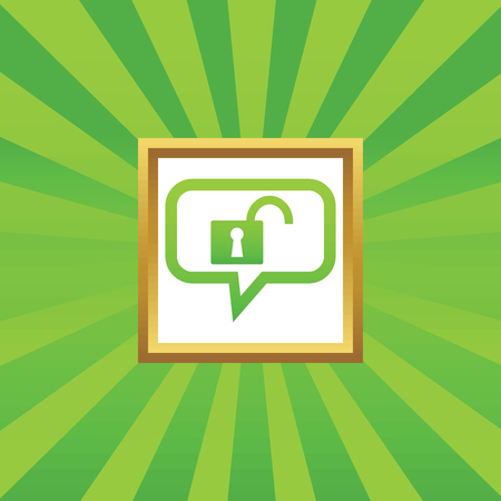 latch: Open padlock in chat bubble, in golden frame, on green abstract background Illustration