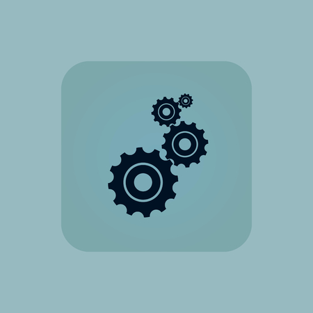 Image of four gears in square, on pale blue background Illustration