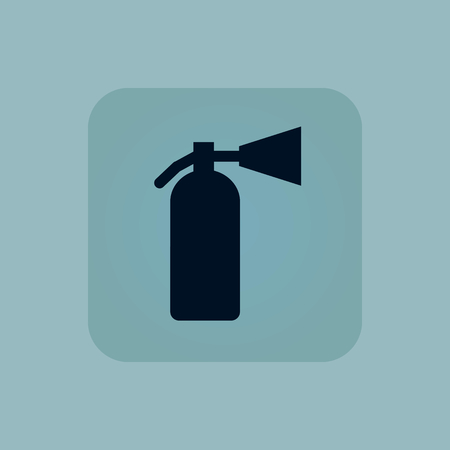 conflagration: Image of fire extinguisher in square, on pale blue background