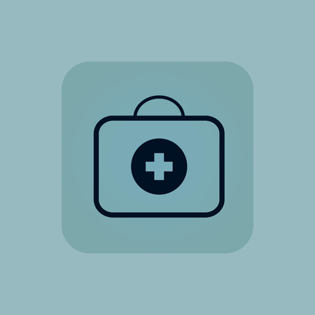 firstaid: Image of first-aid kit in square, on pale blue background Illustration