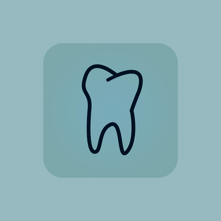 dens: Image of tooth in square, on pale blue background