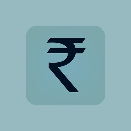 chamfered: Indian rupee symbol in square, on pale blue background Illustration