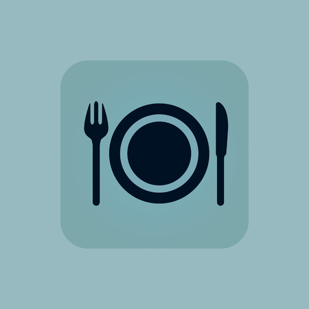 chamfered: Image of fork, plate and knife in square, on pale blue background Illustration
