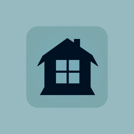 housetop: Image of house with window in square, on pale blue background
