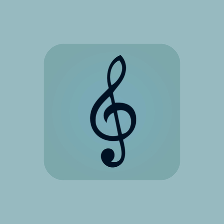 pastel tone: Image of treble clef in square, on pale blue background