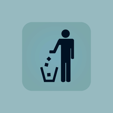 blue bin: Image of person throwing garbage into litter bin, in square, on pale blue background