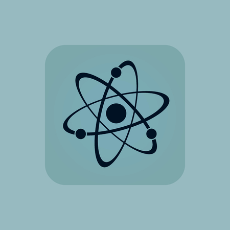 chamfered: Image of atom in square, on pale blue background