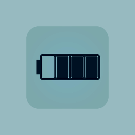 chamfered: Image of three quarters full battery in square, on pale blue background Illustration