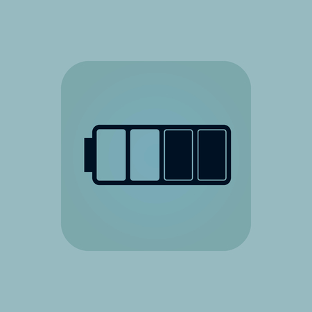 half full: Image of half full battery in square, on pale blue background Illustration